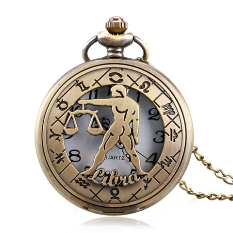 Retro Pocket Watch Zodiac Constellation Stylish Libra Modern Steampunk Hollow Necklace Men Women Christmas Gift