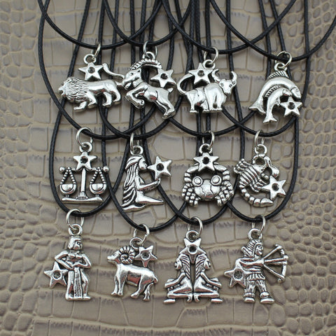 2016 Fashion Jewelry Vintage Silver The 12 Zodiac Signs Pendant 17""