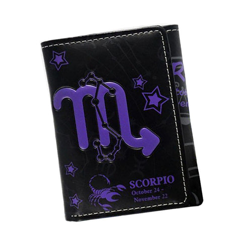 12 Zodiac Sings Leather Mini Wallet New Designer 2017 Trifold Anime Wallet Card Holder Bifold For Women Men Cartoon Wallet Purse