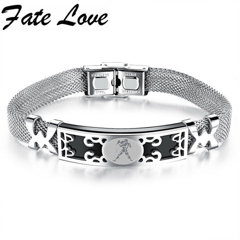 Fate Love Classic Personality 316L Stainless Steel Twelve Zodiac Constellations Bracelets Bangle Women Men Birthday Gift FL828
