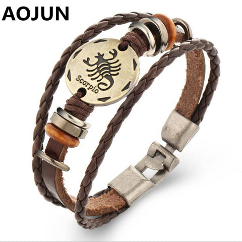 AOJUN 12 Constellations Bracelet Male Zodiac Horoscope Signs Leather Bracelet