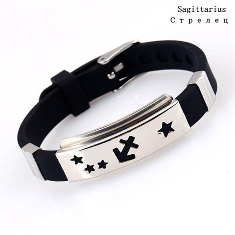 AOJUN 12 Constellations Bracelet Male 2017 Hot Zodiac Signs Black Horoscope Silicone Bracelet For Men Women Rubber Jewelry 2XL10
