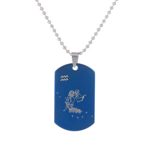 NEW Zodiac Amulet 12 Constellations Stainless Steel Pendant Chain Necklace For Women Men Jewelry Accessories Free shipping