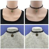 [$4 Minimum] Vintage Bronze Stretch Tattoo Choker Necklace Gothic Punk Grunge Henna Elastic With 12 Zodiac Signs Pendant DY218