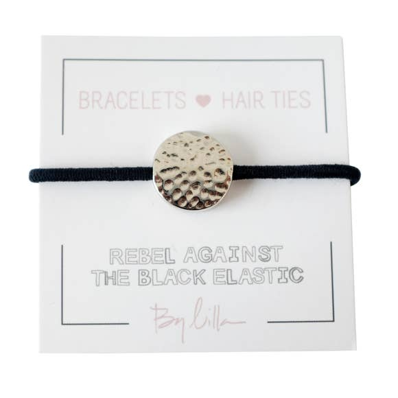 Hammered Silver Navy - Not So Basic - Hair Tie