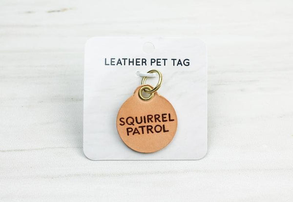 Leather Pet Collar Tag, Squirrel Patrol