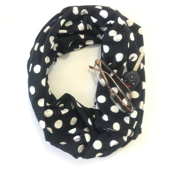 Polka Dot Infinity Scarf With Pocket