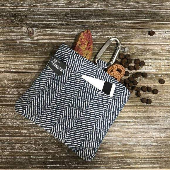 Navy Herringbone-Dog Treat Bag