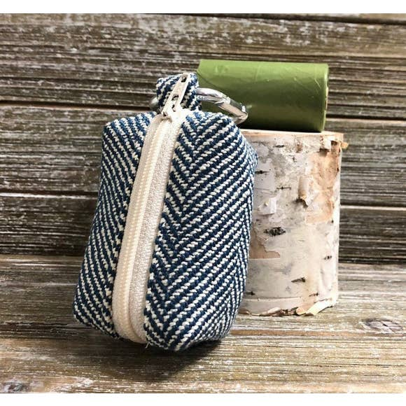 Navy Herringbone-Dog Waste Bag Holder