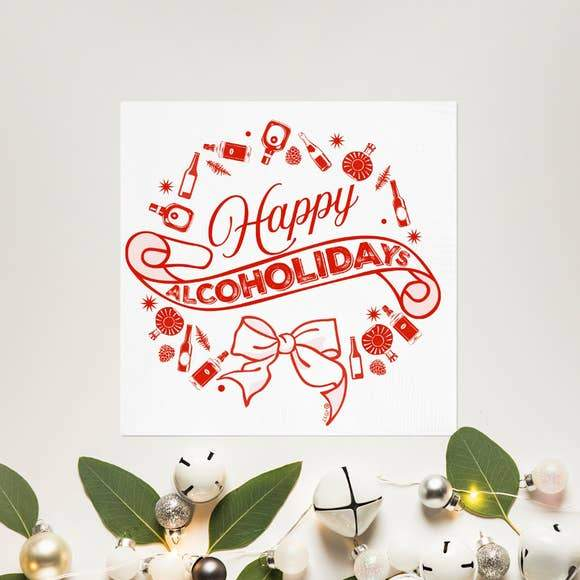 Happy Alcoholidays Cocktail Napkin