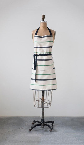 Black + Green Stripe Apron