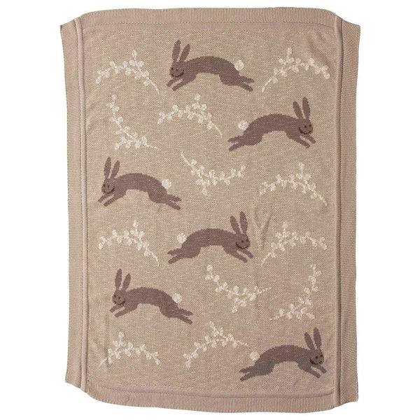 Knit Blanket, Taupe w/ Bunnies