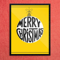 Merry Christmas Ornament on Gold Print