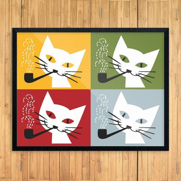 Pipe Smoking Cats Print