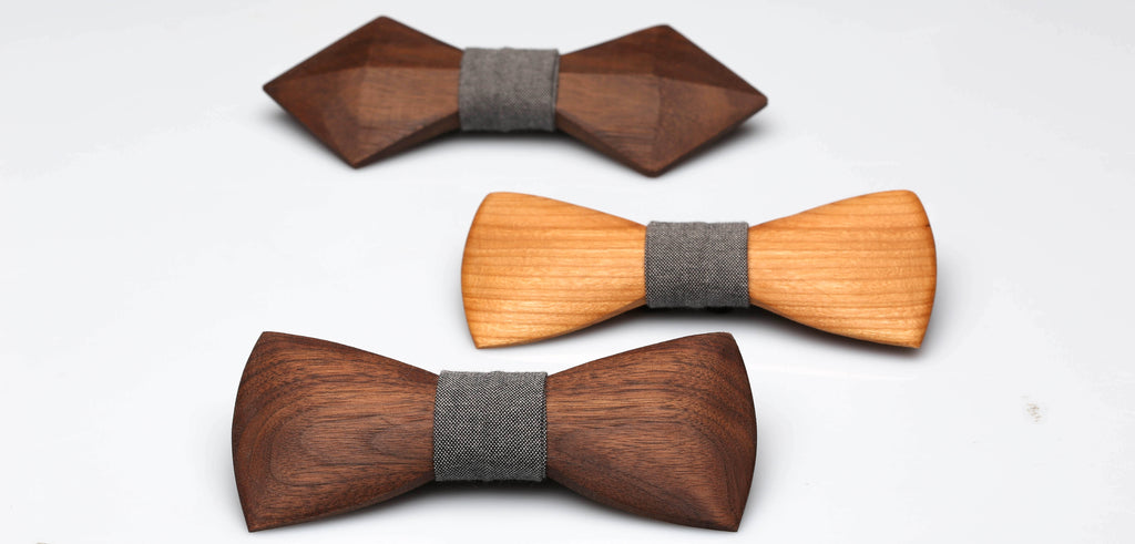 variety of wooden bow tie shapes