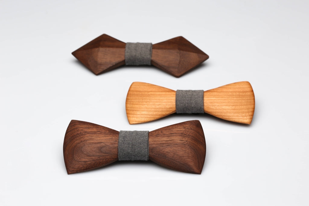 variety of wooden bow ties in misc shapes