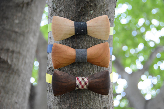 North American Wood Bow Tie Gift Set Trio