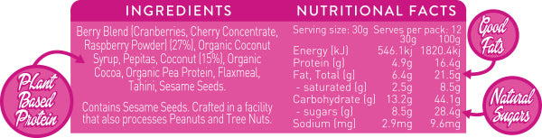 RACERICE Berry Coconut SuperCharged Bar Ingredients Nutritional Information Stephanie Rice Bar