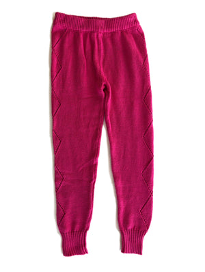 Knitted Leggings - Pink Chili