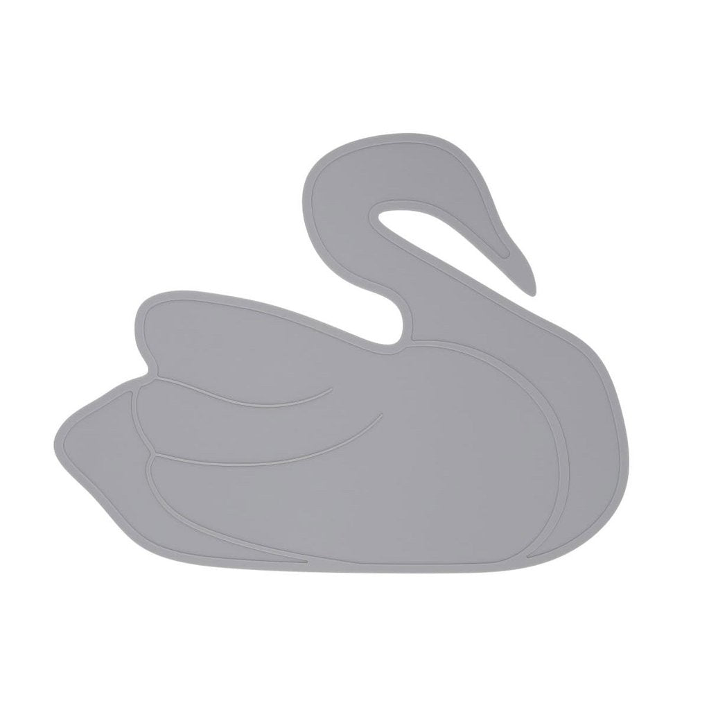 A grey swan mat made from BPA free silicone and dishwasher safe