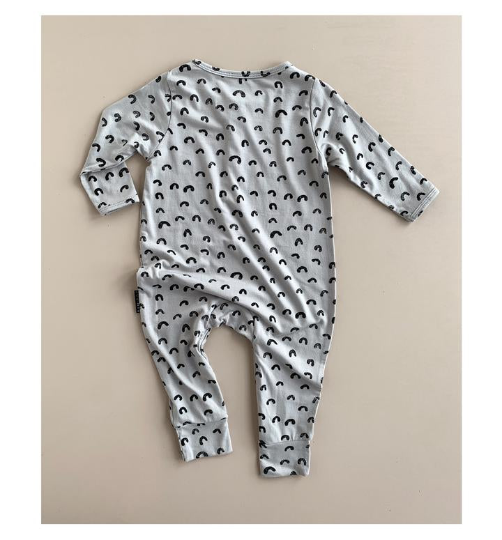 Duck egg blue/ grey organic cotton bamboo onsie with hand painted rainbows