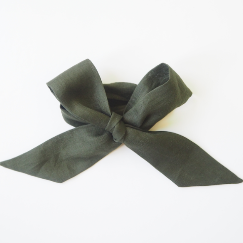 Natural 100% organic linen head wrap in a moss green colour