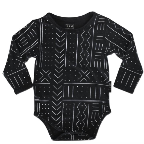 Organic cotton and bamboo onsie in black with a white mudcloth print