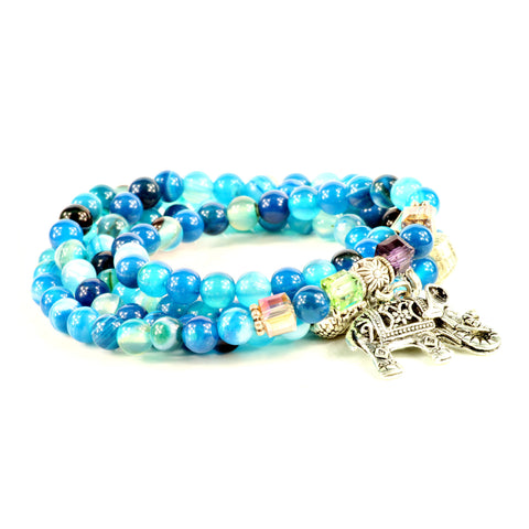Blue Agate beaded Stretch Bracelet with Elephant Charm - Styleazy