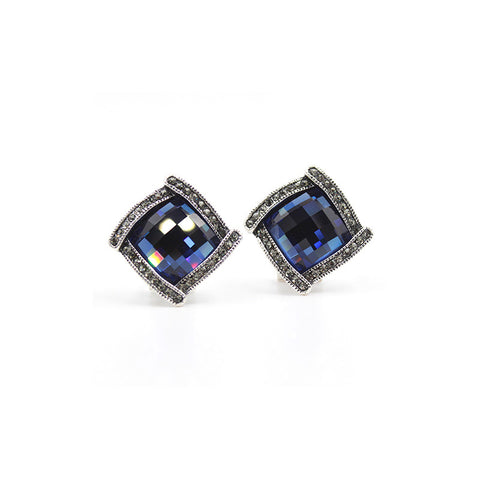 Fashion Geometric Square Crystal Stud Earrings - Styleazy