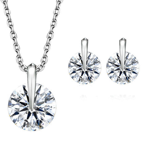 Elegant Round Cut Rhinestone Necklace Earrings Wedding Jewelry Set - Styleazy