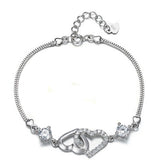 Sterling Silver Double Heart Linked Bracelet - Styleazy