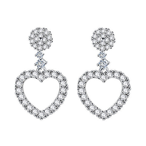 Gold Plated Cubic Zirconia Dangling Heart Earrings - Styleazy