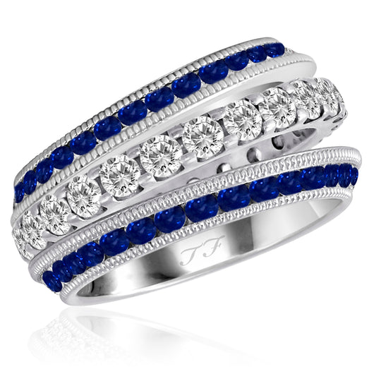 Blue Sapphire Slanted Wing Jacket Rings Mill Grain Design Edge (2)