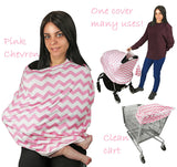 Nursing Breastfeeding Cover-Multi use-Stroller Canopy, Car Seat, Shopping Cart, Swaddle, Hi-Chair. Soft Breathable Washable