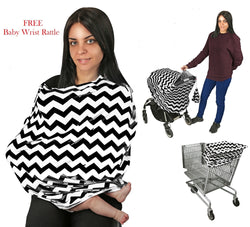Nursing Breastfeeding Cover-Multi use-Stroller Canopy, Car Seat, Shopping Cart, Swaddle, Hi-Chair.