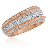 Ring Enhancers Stack-able Channel Set Mill-Grain Edge Diamond Slanted Wing Rings (2)