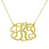 Personalized Monogram Necklace Oval Silver Hand Cut Includes Chain Gift bag