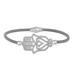Gold Plated Hamsa Kabbalah Pave CZ Sterling Silver Bangle Magnet Clasp Lock. Made In Italy By EZ Creations