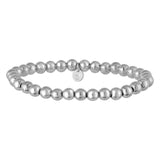 Italian Silver Bead Stretch Bracelet 6mm Easy on & Off Made In Italy