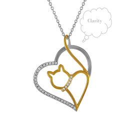 Yoga Kitty Cat Heart Cubic Zircon,  Necklace Sterling Silver 18kt. Gold Plated. 18