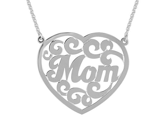 Mother Necklace Jewelry Heart Monogram Lace Handmade Gold On Sterling Silver 1.25