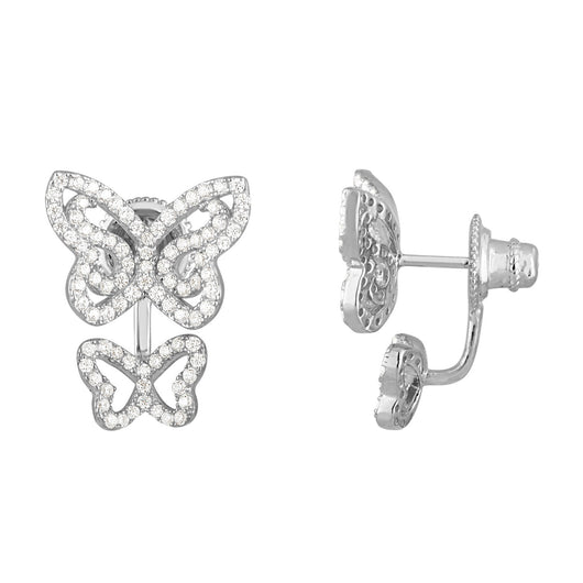 Graceful Sterling Silver Double Butterfly Earrings With Cubic Zirconia