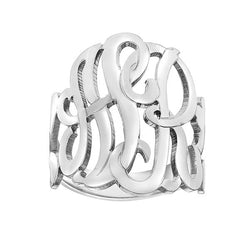 Monogram Ring Sterling Silver, Personalized With Your Initials And Size