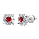 14kt. 8.5mm Diamond Flower Cluster Ruby Center Invisible Set Earrings