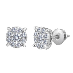 1.0 ctw Diamond Flower Stud Invisible Set 14kt. Gold Earrings. Martini Style 7.5mm