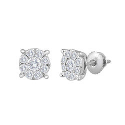 Diamond Flower Stud .60ctw  Invisible Set Earrings 14kt. Gold 6.5mm Looks like 1.0ct