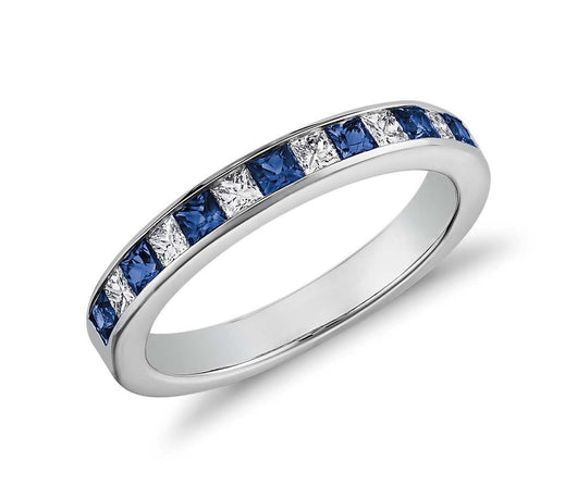 Channel Set Princess Cut 7 Sapphire and 6 Diamond Ring in 14K White Gold
