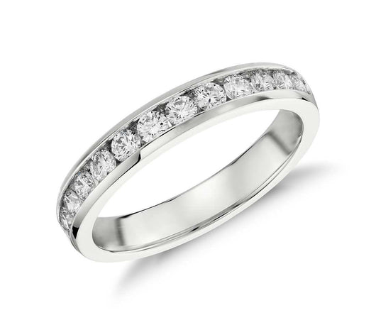 Channel .50ctw Diamond Anniversary Band Ring in 14k White Gold 15 Diamonds