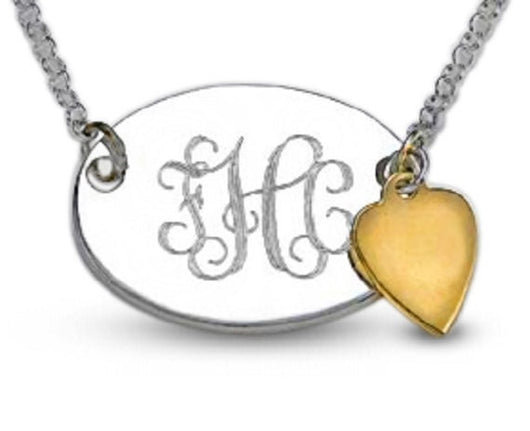Oval Sterling Silver Personalized Monogram Engraved 14kt. Gold Dangle heart