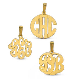 14kt Gold Dainty 3/4 inch Diameter Monogram charm Necklace Free Chain